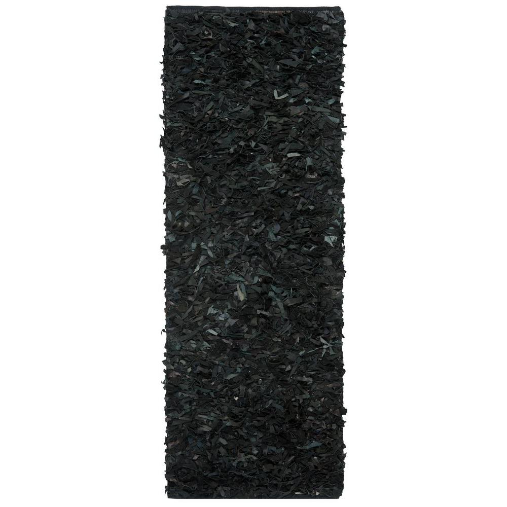 Leather Shag Black 2 ft. 3 in. x 11 ft. Rug
