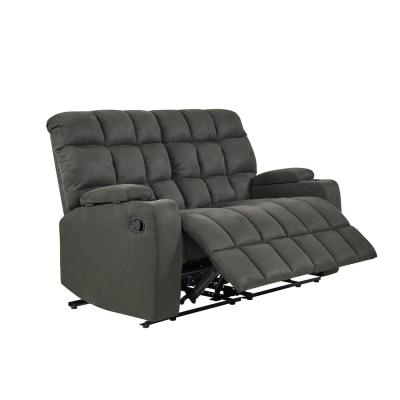 57 in. Gray Polyester 2-Seater Reclining Loveseat with Cupholders