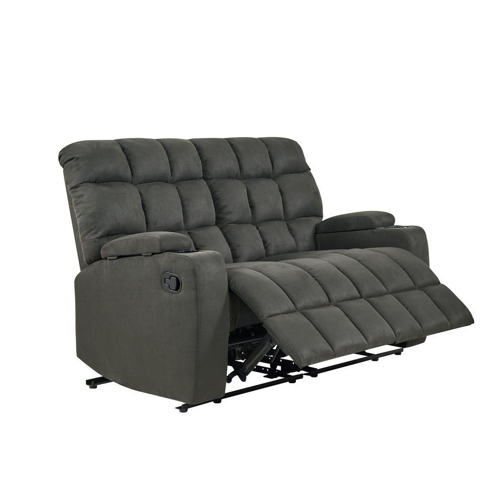 2-Seat Gray Microfiber Wall Hugger Storage Reclining Loveseat
