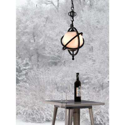 Topaz 1-Light Antique Black Gold Ceiling Pendant