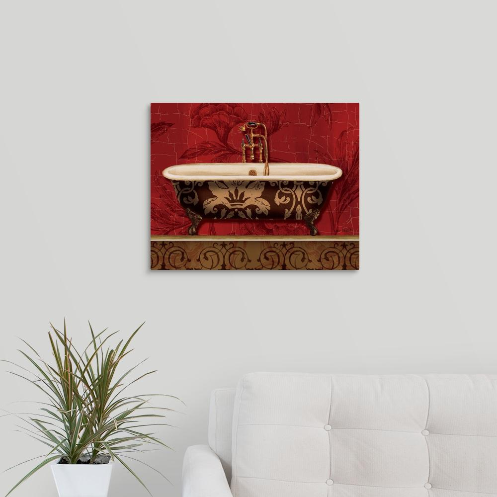 """Royal Red Bath I"" by Lisa Audit Canvas Wall Art"