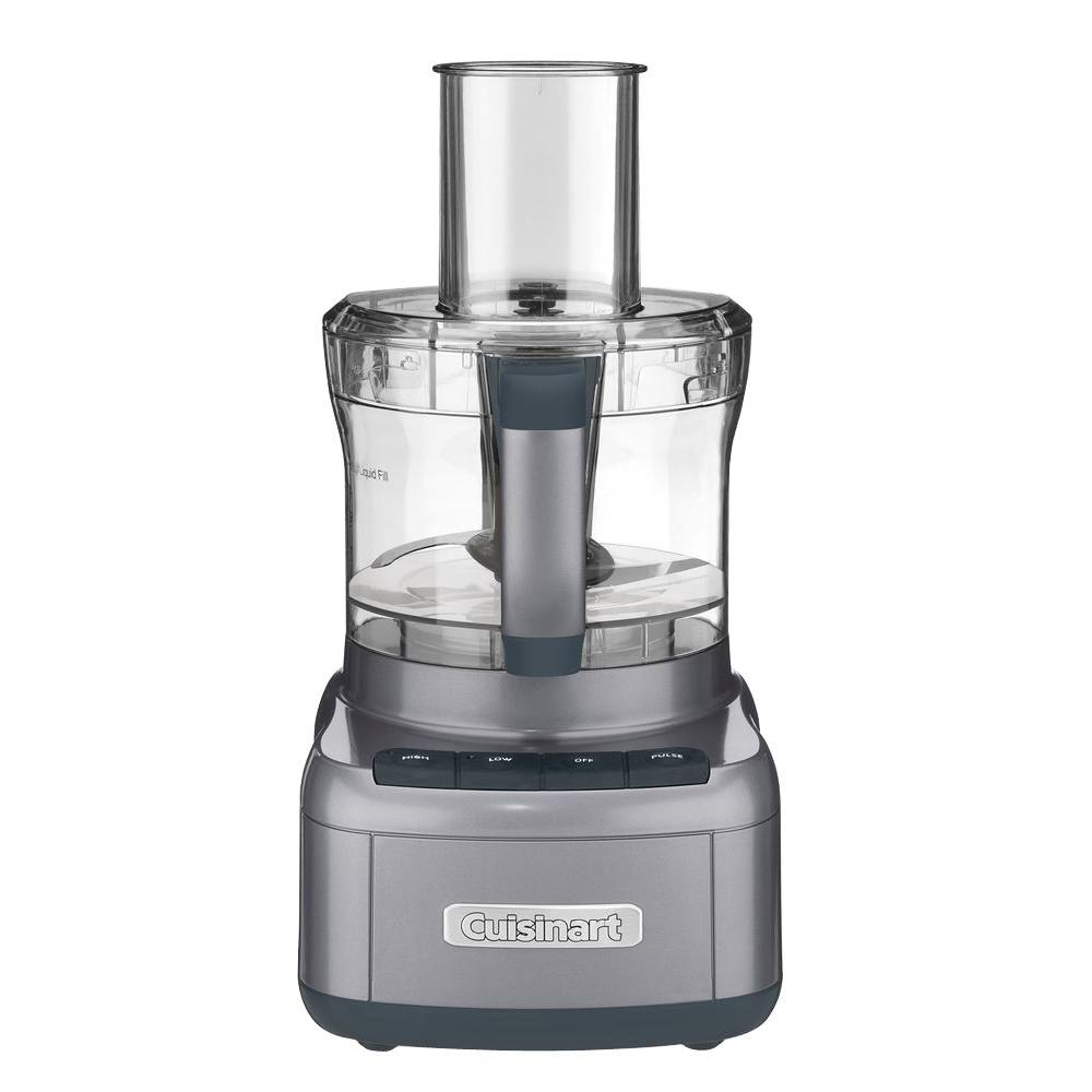 Elemental Food Processor, Metallic Carbon This Cuisinart FP-8GM Elemental Food Processor is designed to perform just about any food prep task a recipe calls for. It's big enough to chop ingredients for a party-sized portion of salsa, and powerful enough to turn a full work bowl of veggies into healthy pureed soups in seconds. Rubberized touch pad controls, and reversible shredding and slicing discs make this food processor a favorite of creative home cooks. Color: Metallic Carbon.