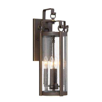 Somerset 4-Light Dakota Bronze Outdoor Traditional Light Sconce with Seeded Glass