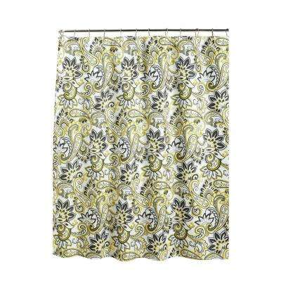 Diamond Weave Textured 70 in. W x 72 in. L Shower Curtain with Metal Roller Rings in Ruiselede Lemon Drop