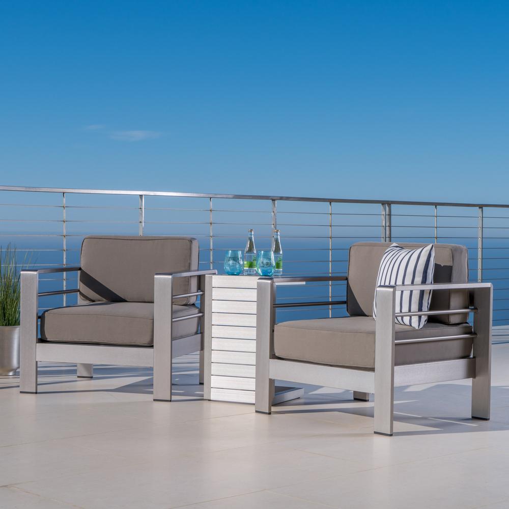 Noble House Cape Coral Sliver 3 Piece Aluminum Patio