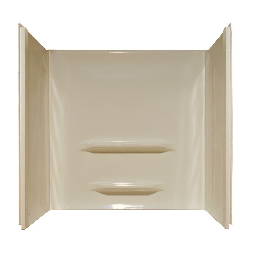 Lyons Industries Elite 30 in. x 60 in. x 59 in. 3-piece Direct-to-Stud Tub Wall Kit in Almond