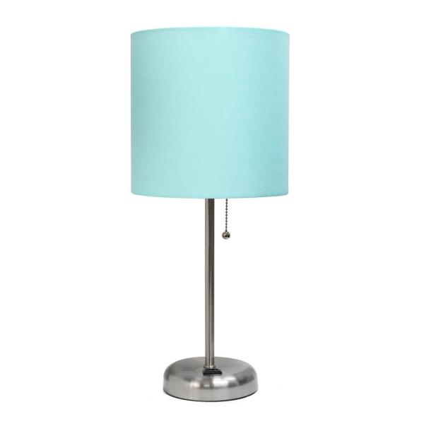 19.5 in. Aqua Stick Lamp with Charging Outlet and Fabric Shade