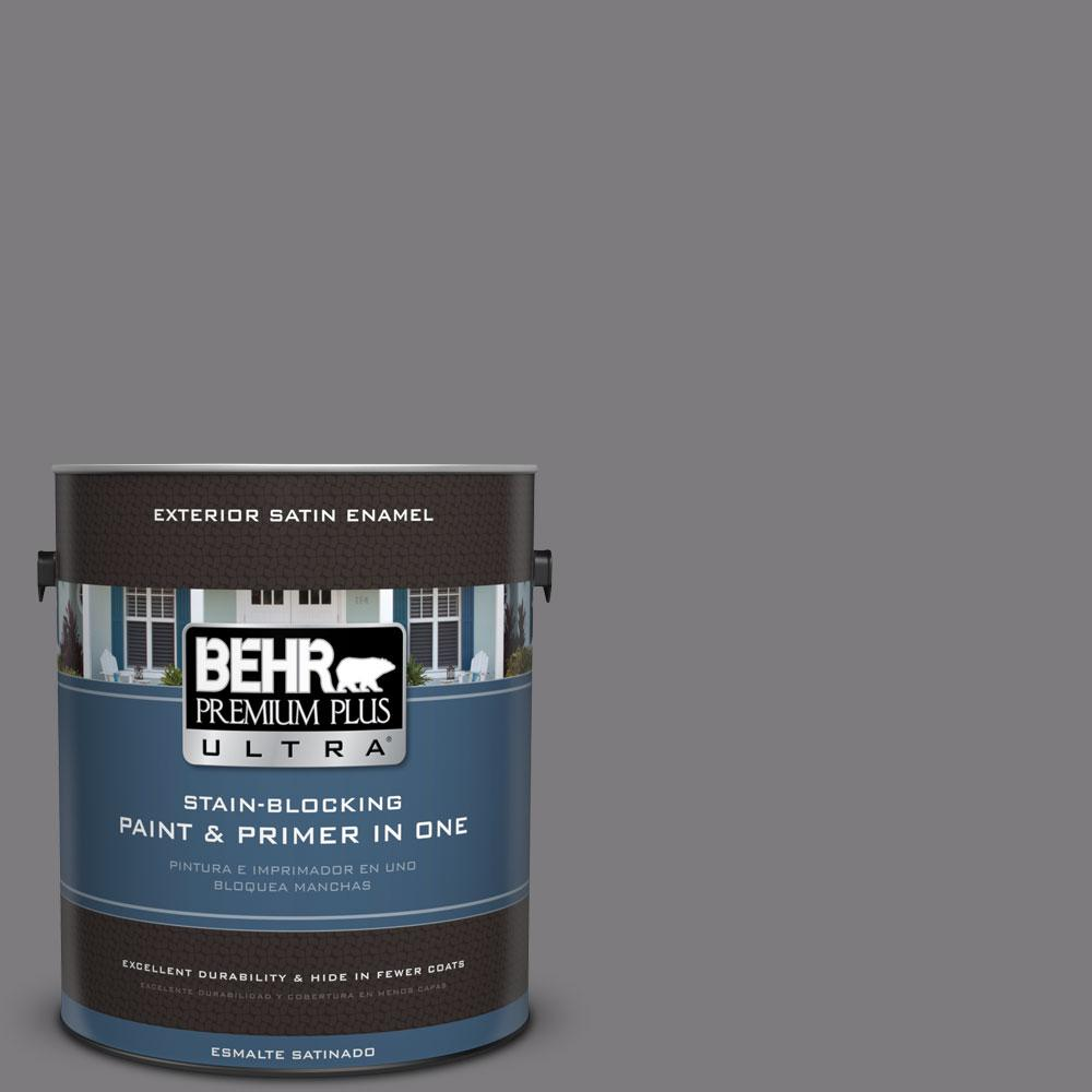 BEHR Premium Plus Ultra 1-gal. #BXC-58 Stormy Gray Satin Enamel Exterior Paint