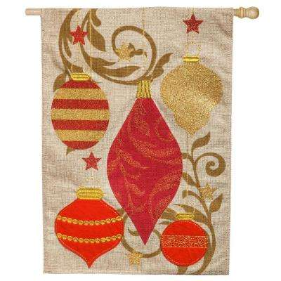 28 in. x 44 in. Holiday Ornaments House Burlap Flag