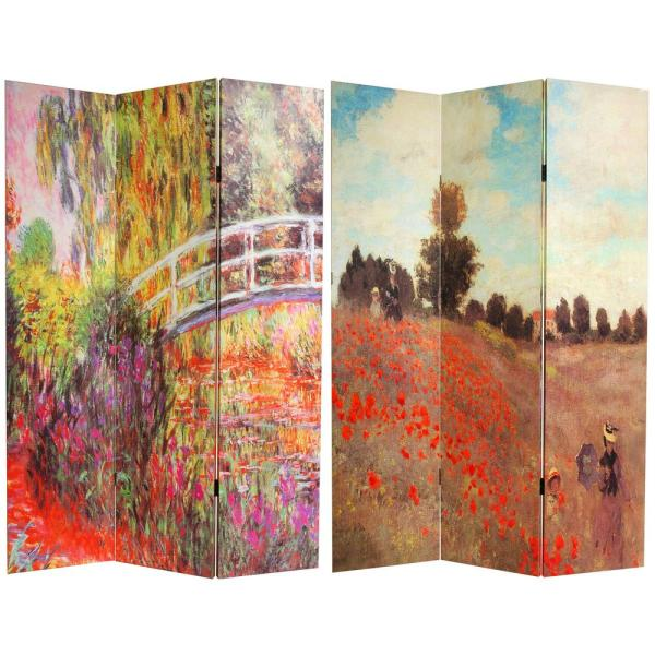 Oriental Furniture 6 ft. Printed 3-Panel Room Divider CAN-MONET