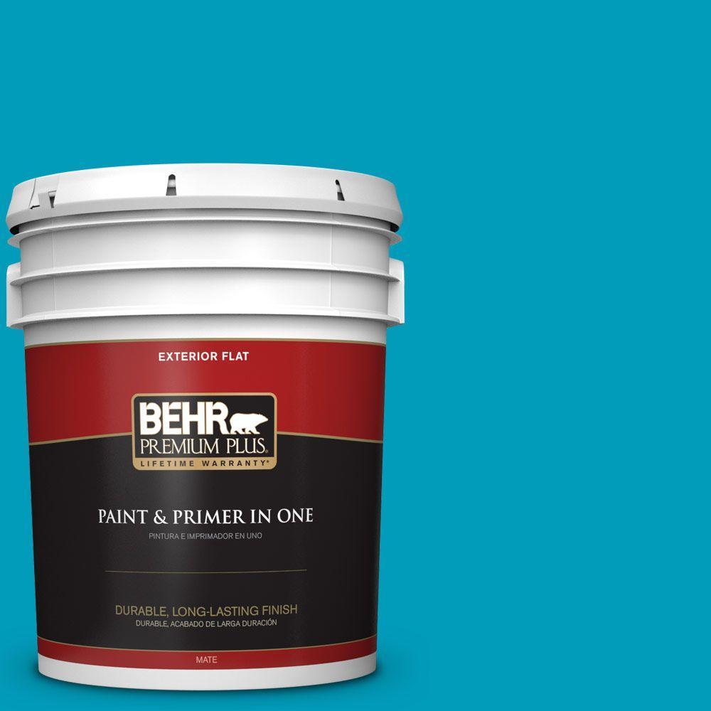 BEHR Premium Plus 5-gal. #520B-6 Brilliant Sea Flat Exterior Paint
