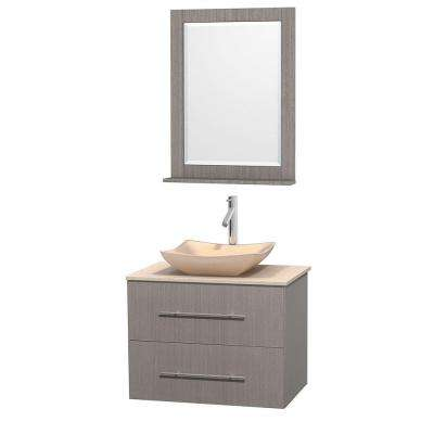 Centra 30 in. Vanity in Gray Oak with Marble Vanity Top in Ivory, Marble Sink and 24 in. Mirror