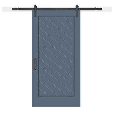 42 in. x 84 in. Pacific Composite 1-Panel Herringbone Solid-Core MDF Barn Door with Sliding Door Hardware Kit