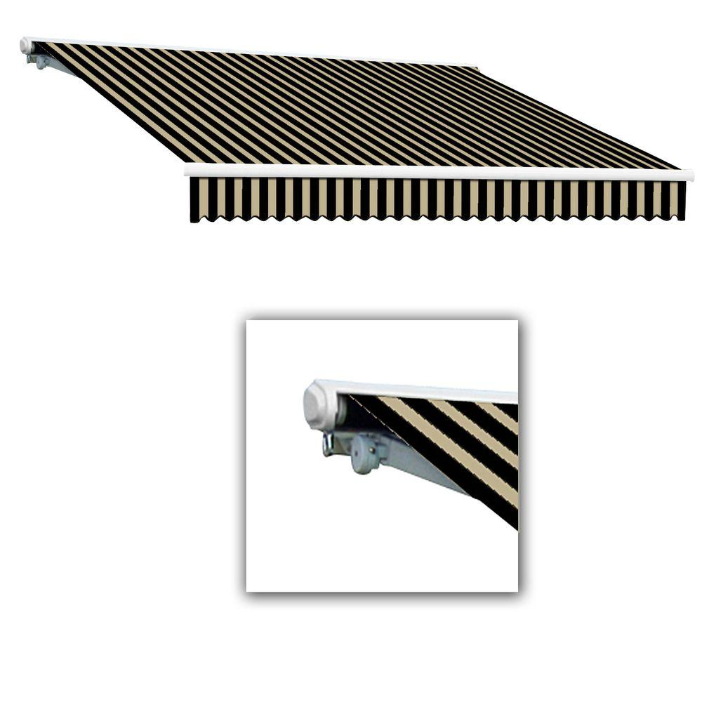 null 14 ft. Key West Motor Retractable Acrylic Awning (120 in. Projection) in Black/Tan Stripes