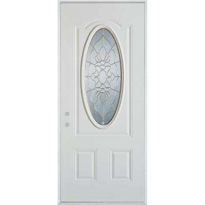 32 in. x 80 in. Traditional Zinc 3/4 Oval Lite 2-Panel Painted White Right-Hand Inswing Steel Prehung Front Door