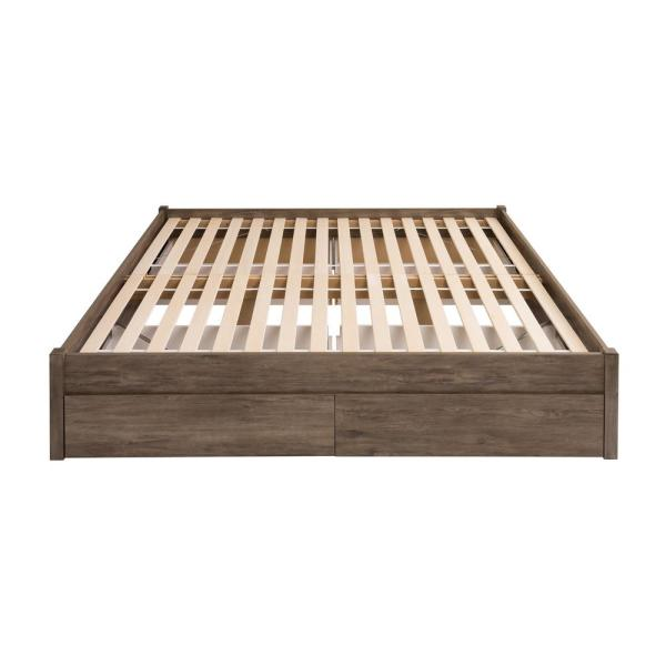 Select Drifted Gray King 4-Post Platform Bed with 4-Drawers