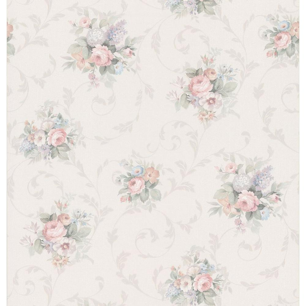 Brewster Kitchen Bath Bed Resource III Off-White Floral Scroll Wallpaper Sample