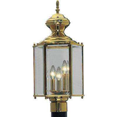 Brass Guard Collection 3-Light Polished Brass Outdoor Post Lantern