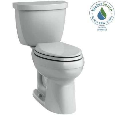 Cimarron Touchless Comfort Height 2-Piece 1.28 GPF Elongated Toilet with AquaPiston Flushing Technology in Ice Grey