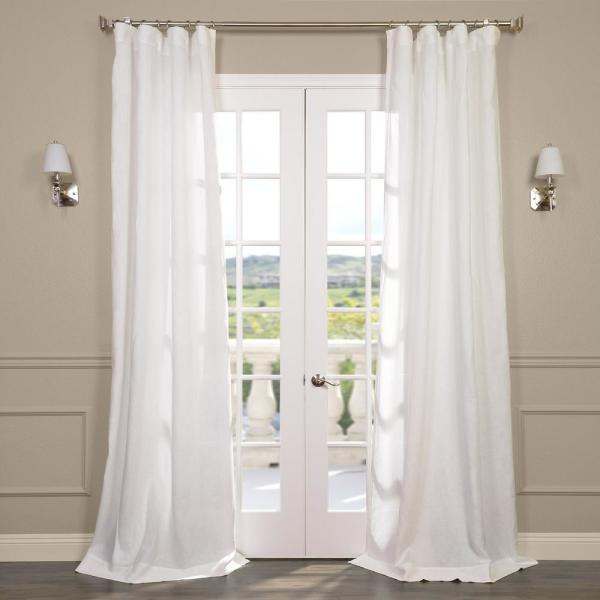 Antique Lace OffWhite Ivory Linen Sheer Curtain - 50 in. W x 84 in. L
