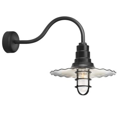 Radial Wave 16 in. Shade 23 in. Arm 1-Light Black Clear Glass Lens Outdoor Wall Mount Sconce
