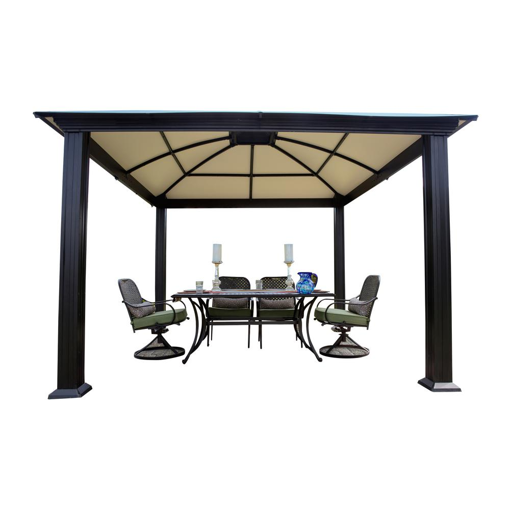 stc paragon outdoor 12 ft x 12 ft aluminum gazebo gz3d the home depot. Black Bedroom Furniture Sets. Home Design Ideas