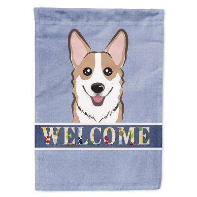 11 in. x 15-1/2 in. Polyester Sable Corgi Welcome 2-Sided 2-Ply Garden Flag