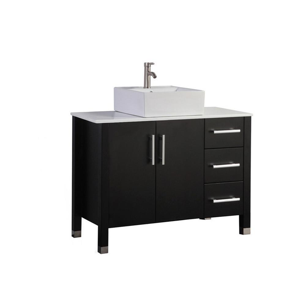 Asti 40 in. W x 20 in. D x 36 in. H Vanity in Espresso with Microstone Vanity Top in White with White Basin