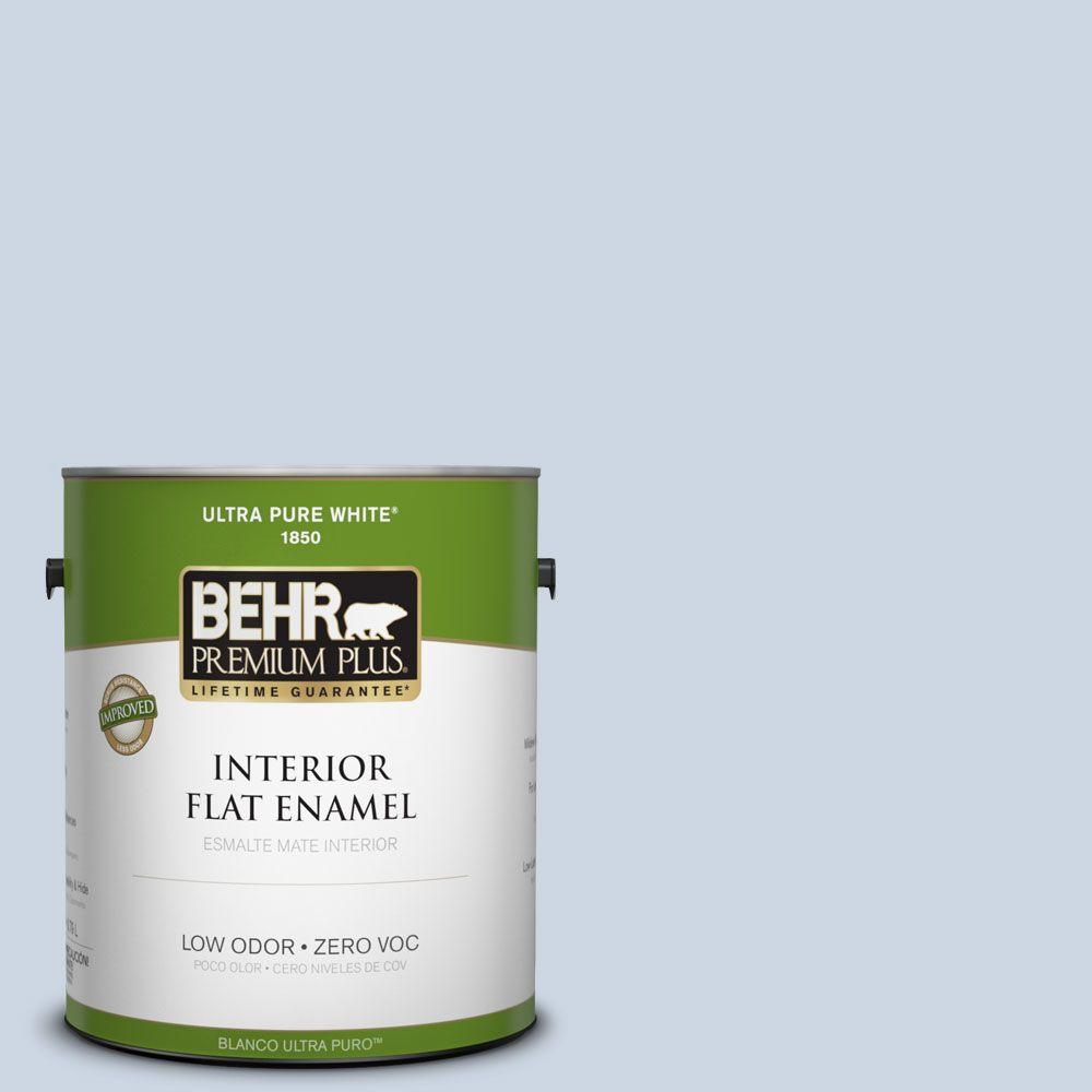 BEHR Premium Plus 1-gal. #ICC-35 Blue Reflection Zero VOC Flat Enamel Interior Paint-DISCONTINUED