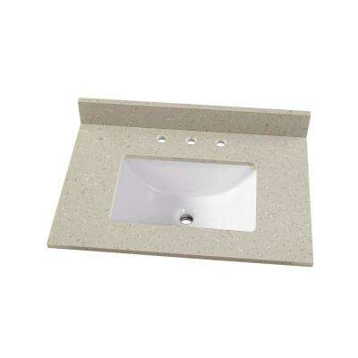31 in. W x 22 in. D Engineered Quartz Vanity Top in Stoneybrook with White Single Trough Sink