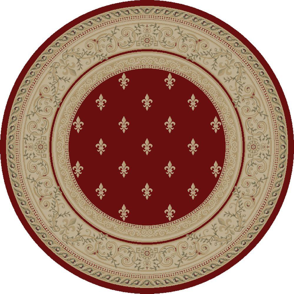 Concord Global Trading Imperial Fleur De Lys Red 5 ft. 3 in. Round Area Rug