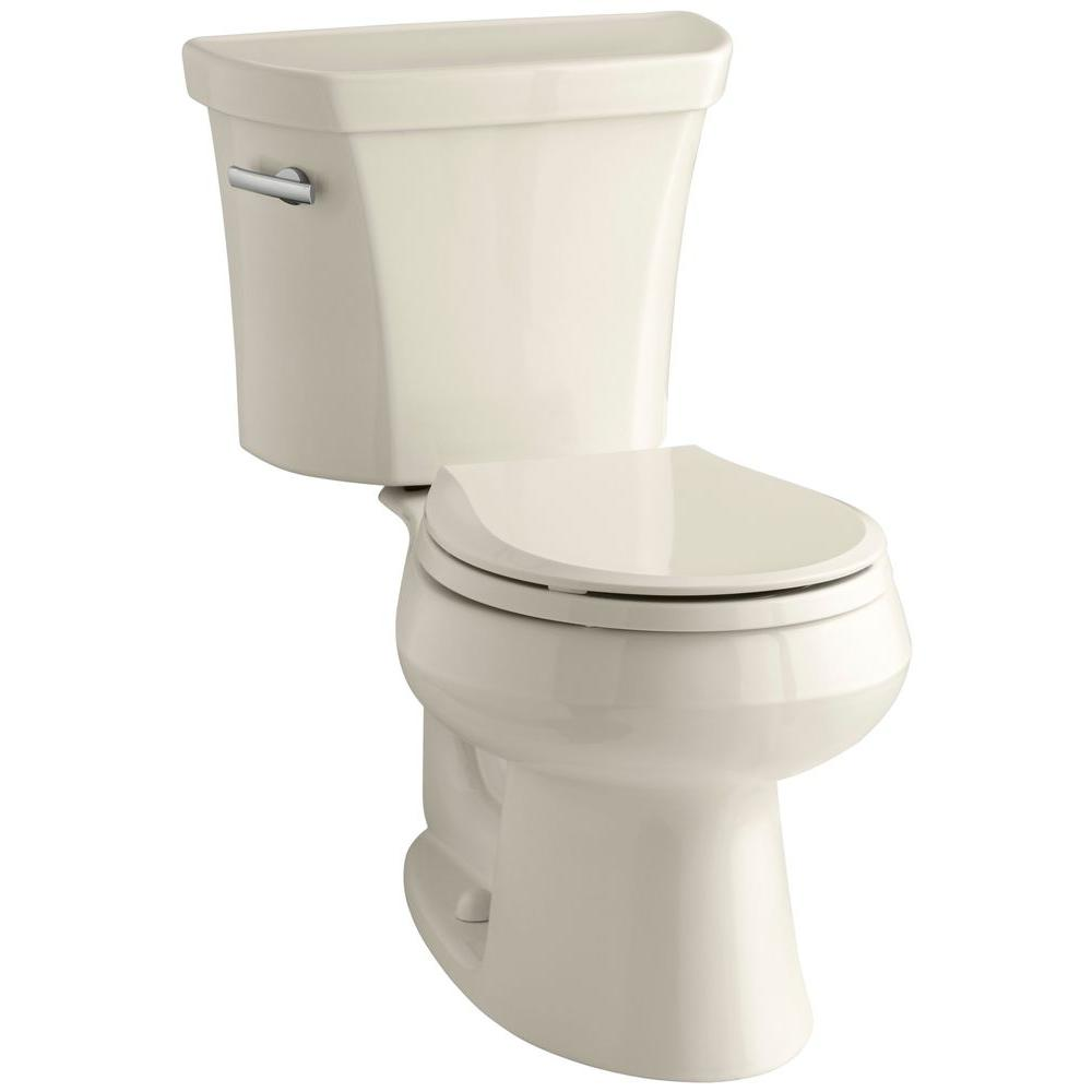 KOHLER Wellworth 2-piece 1.6 GPF Single Flush Round Toilet in Almond
