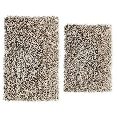 17 in. x 24 in. and 21 in. x 34 in. Chenille Shaggy Bath Rug Set (2-Piece)