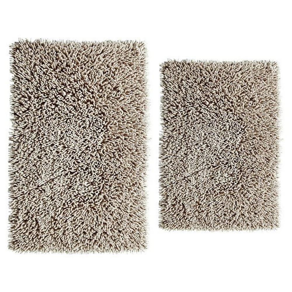 Stone 17 In. X 24 In. And 24 In. X 40 In. Chenille Shaggy Bath Rug Set (2 Piece), Grey