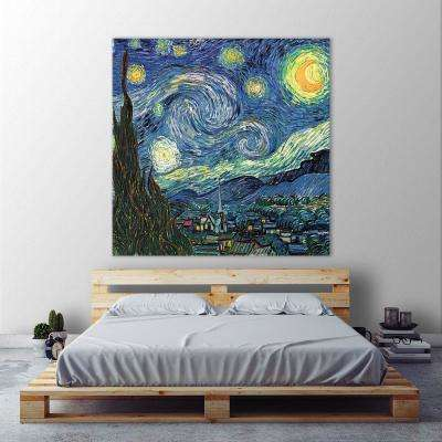 "54 in. x 54 in. ""Blue Sky"" by Vincent Van Gogh Printed Framed Canvas Wall Art"