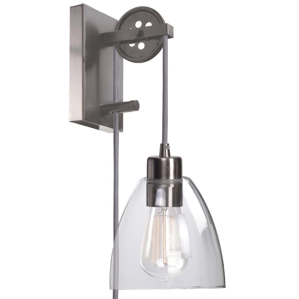 Kenroy Home Edis 1-Light Brushed Steel Wall Sconce-92098BS