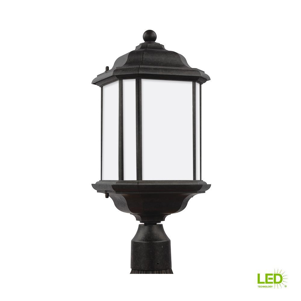 Sea Gull Lighting Kent 1 Light Outdoor Oxford Bronze Post With Led Bulb
