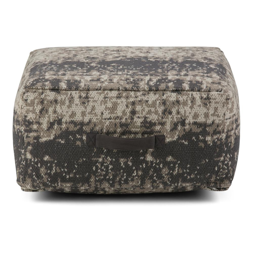simpli home tilley taupe and grey square pouf axcpf 21 t the home depot. Black Bedroom Furniture Sets. Home Design Ideas