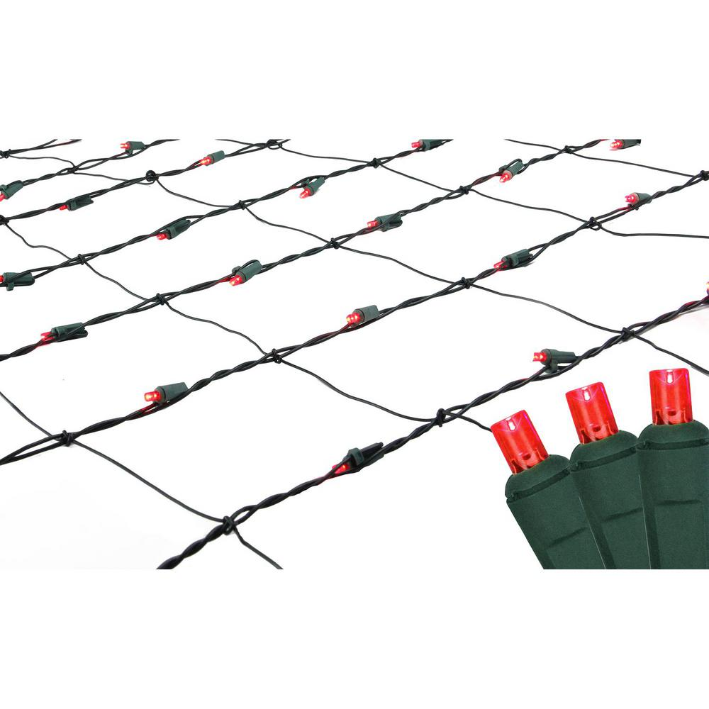 Red Led Net Style Christmas Lights With Green Wire