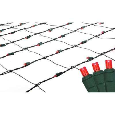 4 ft. x 6 ft. Red LED Net Style Christmas Lights with Green Wire