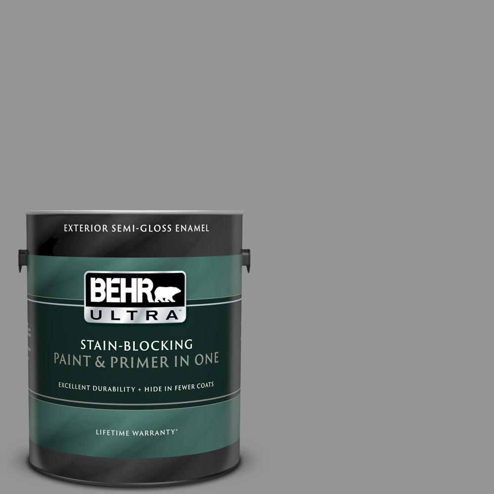 Behr Ultra 1 Gal Ppu24 19 Shark Fin Semi Gloss Enamel Exterior Paint And Primer In One 585401 The Home Depot