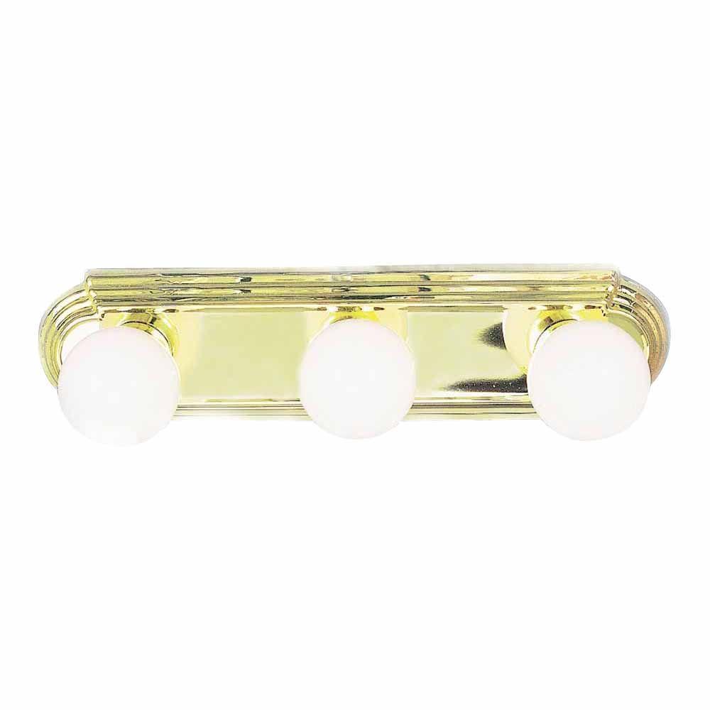 Lenor 3-Light Polish Brass Incandescent Wall Bath Vanity Light