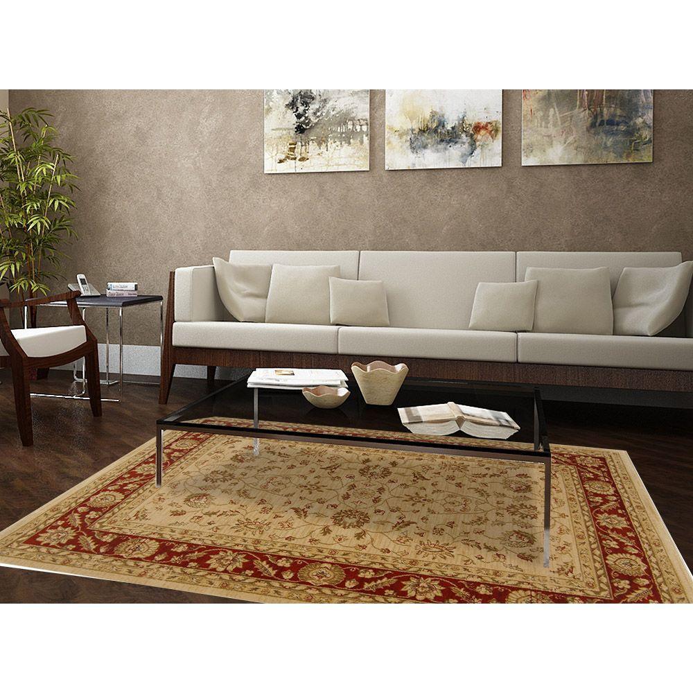 Home Dynamix Antiqua Cream Red 7 Ft 8 In X 10