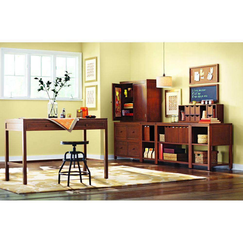 Internet #206774966. Martha Stewart Living Craft Space Storage Sequoia Wood  Console