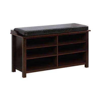 "18.25 in. H"" x 40.5 in. W"" Brown Cherry Shoe Rack Bench With 6 Shelves"