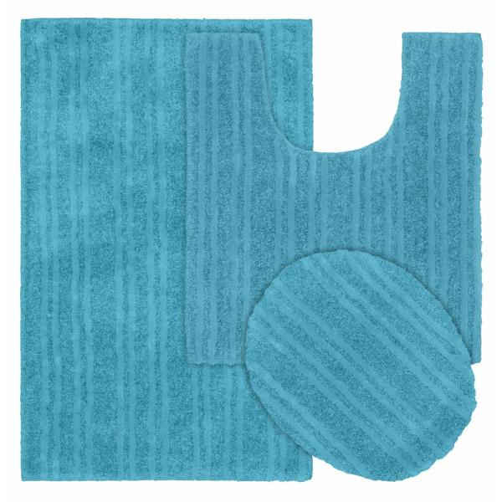 Grand Isle Blue Bird 21 in. x 34 in. Striped Nylon 3-Piece Bath Mat Set