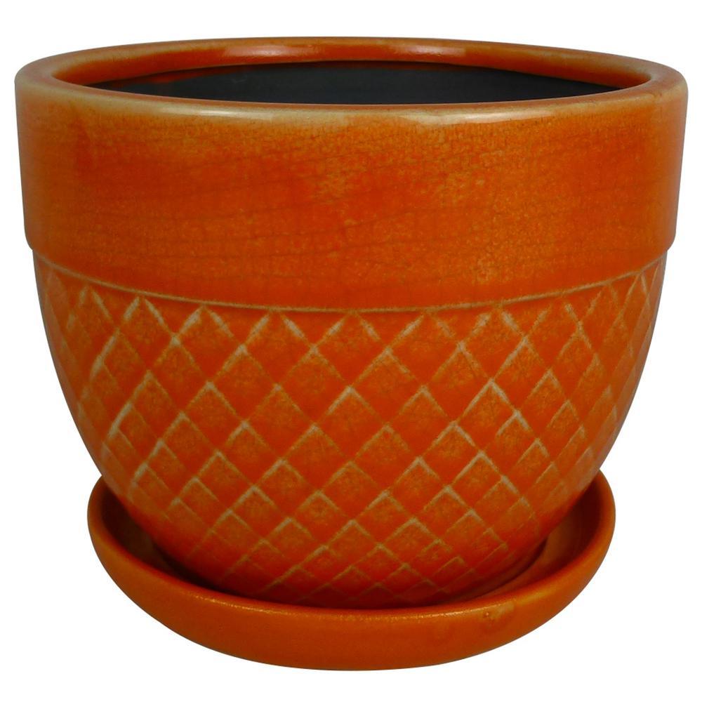 Trendspot 6 in. Dia Coral Ceramic Acorn Bell Planter