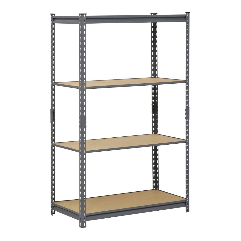 Edsal Gray 4 Tier Heavy Duty Steel Garage Storage Shelving 36 In W X 60 In H X 18 In D Ur361860 The Home Depot