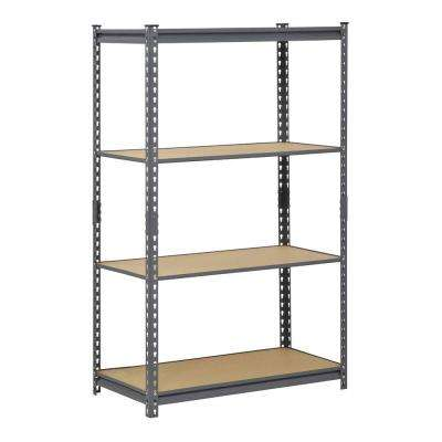 60 in. H x 36 in. W x 18 in. D 4-Shelf Steel Commercial Shelving Unit in Gray