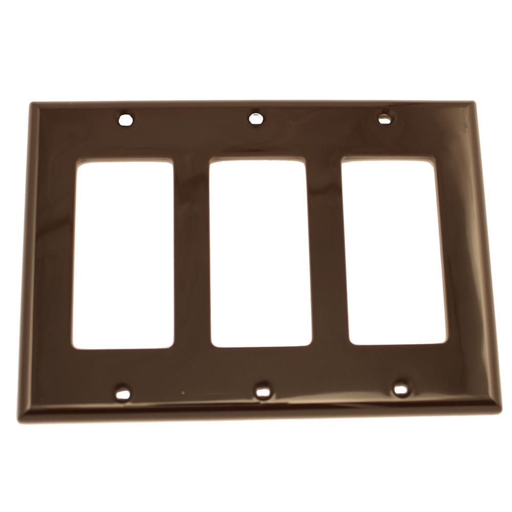 Leviton 3 Gang Decora Nylon Wall Plate Brown